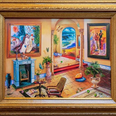 """Alexander Astahov Signed """"Interior with Chagall"""" Limited Edition 17x21"""