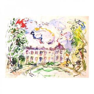 "Wayne Ensrud Signed ""Chateau Neyrac, Bergerac, France"" 20x27 Watercolor"