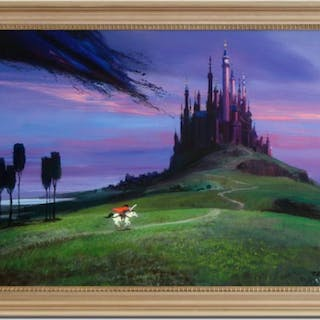 """Peter Ellenshaw Signed """"Aurora's Rescue"""" Limited Edition 40x28 Custom"""