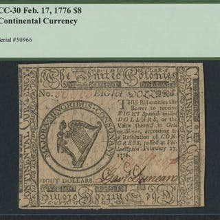 1776 Continental Currency $8 Eight Dollars CC-30 (PCGS 30) (PPQ)