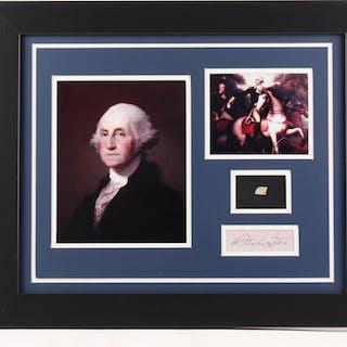George Washington 19.5x23.5 Custom Framed Cut Display with (1) Hand-Written