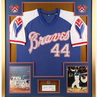 Hank Aaron Signed 32x36 Custom Framed Cut Display (PSA COA)