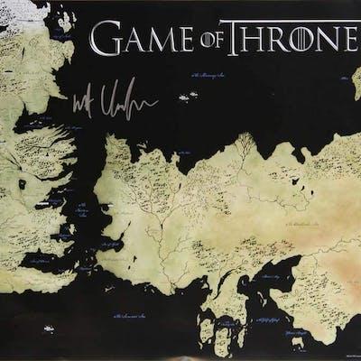 """Kit Harington Signed """"Game of Thrones"""" 24x36 Westeros Map Photo (Radtke COA)"""