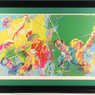 """Arnold Palmer & Jack Nicklaus Signed Leory Neiman """"Golf Greats"""" 29x40"""