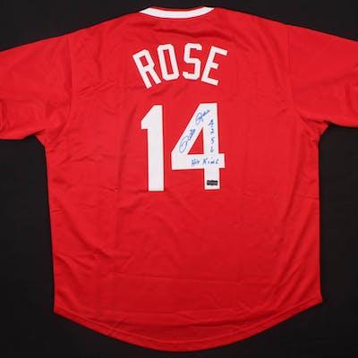 "Pete Rose Signed Jersey Inscribed ""4256"" & ""Hit King"" (Radtke COA)"