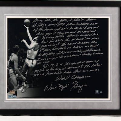 Walt Frazier Signed New York Knicks 22x26 Custom Framed Photo with
