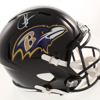 Justice Hill Signed Baltimore Ravens Full-Size Speed Helmet (Beckett COA)