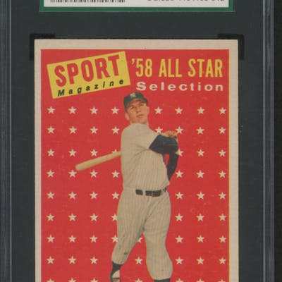 1958 Topps #487 Mickey Mantle All-Star TP (SGC 8)