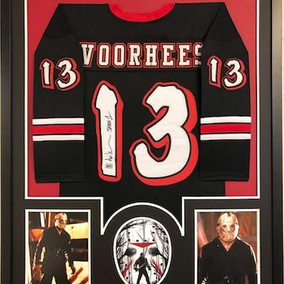 "Ari Lehman Signed ""Voorhees"" 34x42 Custom Framed Jersey Display Inscribed"