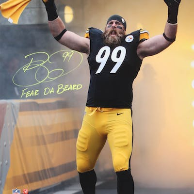 "Brett Keisel Signed Pittsburgh Steelers 16x20 Photo Inscribed ""Fear"
