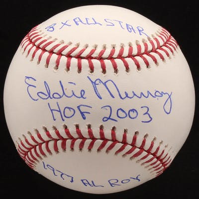 "Eddie Murray Signed OML Baseball Inscribed ""HOF 2003"", ""1977 AL Roy"""