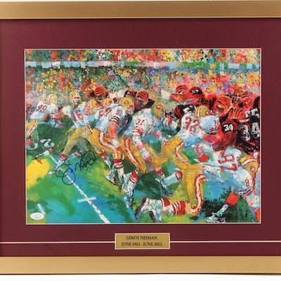 Joe Montana Signed 19x23 Custom Framed Print Display (JSA COA)