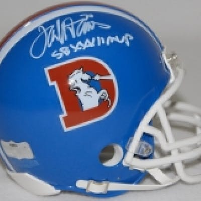 Terrell Davis Signed Denver Broncos Throwback Mini Helmet Inscribed