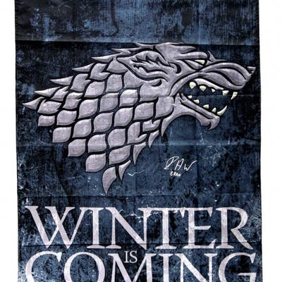"""Isaac Hempstead Wright Signed """"Game Thrones"""" 30x50 Winter is Coming"""