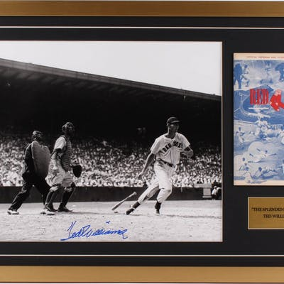 Ted Williams Signed Boston Red Sox 21x31 Custom Framed Photo Display