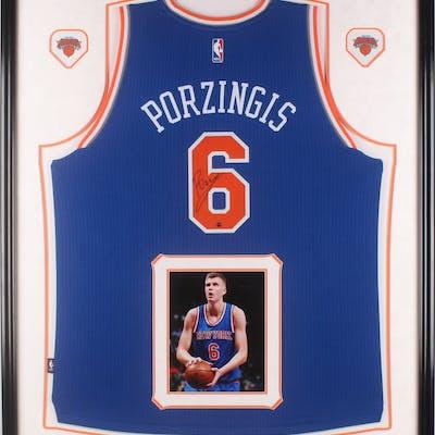 Kristaps Porzingis Signed New York Knicks 34x42.5 Custom Framed Jersey