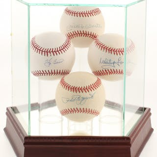 Lot of (4) OAL & OML Baseballs Signed by Mickey Mantle, Whitey Ford