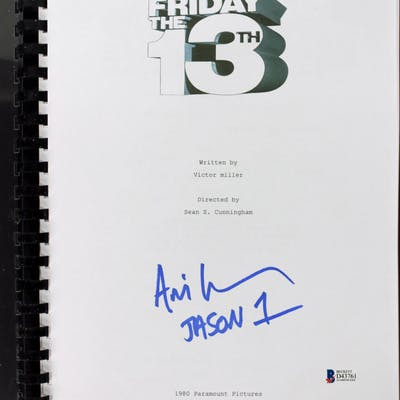 "Ari Lehman Signed ""Friday the 13th"" Movie Script Inscribed ""Jason"
