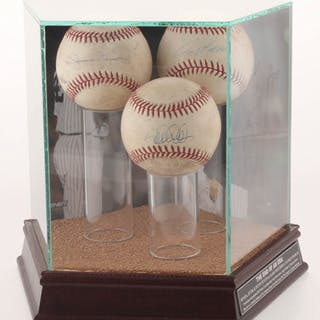 Lot of (3) OML Game-Used Baseballs Signed By Mariano Rivera, Derek