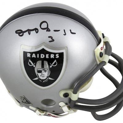 Jeff George Signed Vintage Oakland Raiders Mini Helmet (Beckett COA)