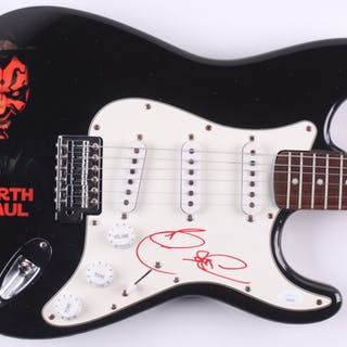 "Ray Park Signed ""Darth Maul"" Fender 39"" Electric Guitar (JSA COA)"