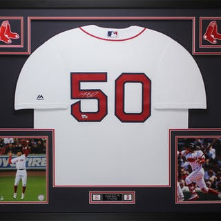 Mookie Betts Signed Boston Red Sox 35x43 Custom Framed Jersey (Fanatics