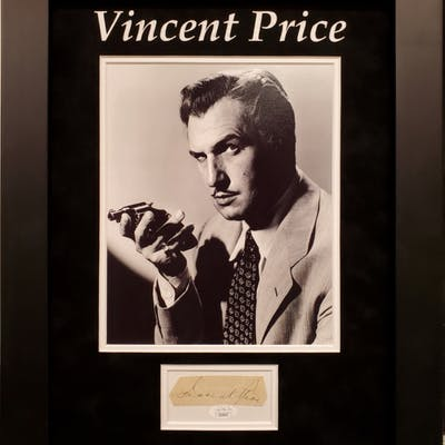 Vincent Price Signed 18x18 Custom Framed Cut Display (JSA COA)