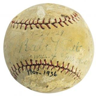 Babe Ruth Signed Baseball (PSA LOA - Graded 2.5)
