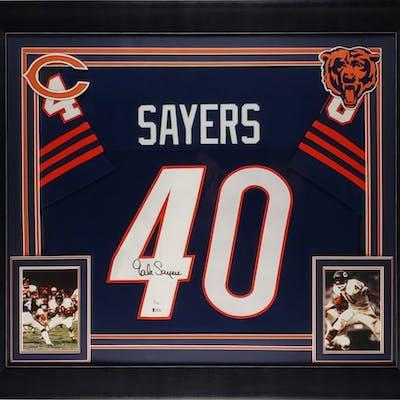 Gale Sayers Signed 32x37 Custom Framed Jersey (JSA COA & Beckett COA)