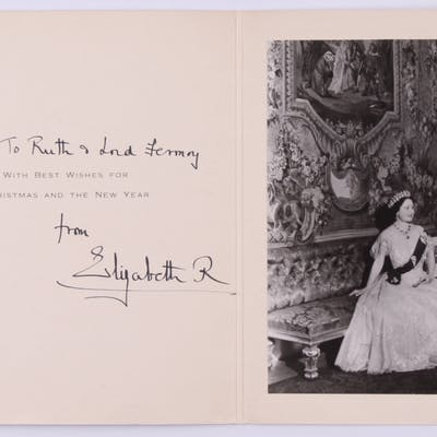 Queen Elizabeth I, The Queen Mother Signed Christmas Card Photo Folder