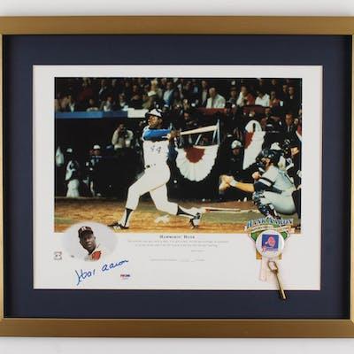Hank Aaron Signed Atlanta Braves 20x24 Custom Framed Limited Edition