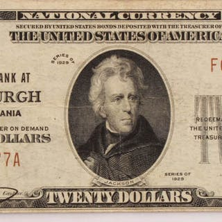 1929 $20 Twenty-Dollar U.S. National Currency Bank Note with Brown
