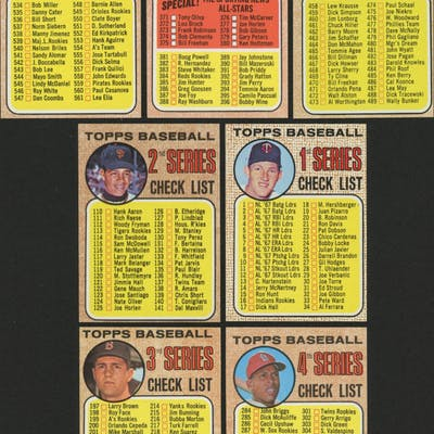 Lot of (7) 1968 Topps Baseball Cards with Checklists 1-7