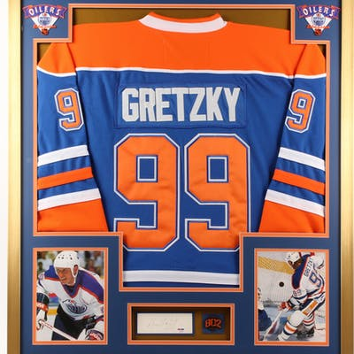 Wayne Gretzky Signed 32x36 Custom Framed Cut Display with Pin (PSA Hologram)