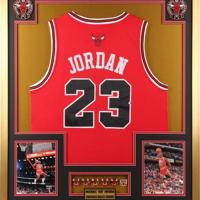 Michael Jordan Chicago Bulls 32x36 Custom Framed Jersey with (6) Championship