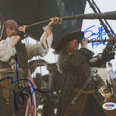 """Johnny Depp & Geoffrey Rush Signed """"Pirates of the Caribbean: At World's"""