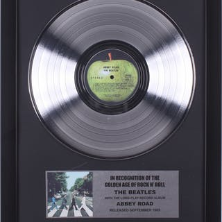 """The Beatles Custom Framed 15.75x19.75 Silver Plated """"Abbey Road"""" Record"""
