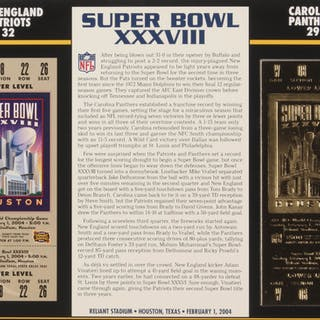 Official Super Bowl XXXVIII Gold Ticket With 9x12 Scorecard: New England