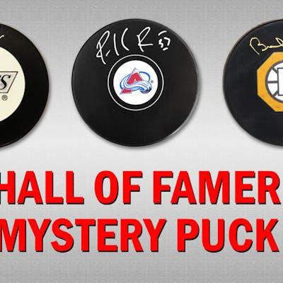 Schwartz Sports Hockey Hall of Famer Signed Logo Hockey Puck Mystery
