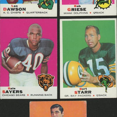 Lof of (5) 1969 Topps Football Cards with #161 Bob Griese, #20 Len