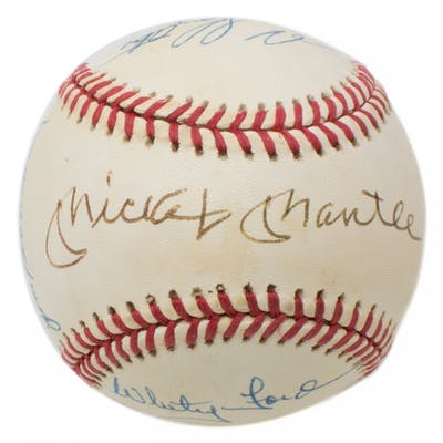 New York Yankees OAL Baseball Signed by (7) with Mickey Mantle, Enos
