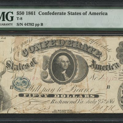 1861 $50 Fifty Dollars Confederate States of America Richmond CSA
