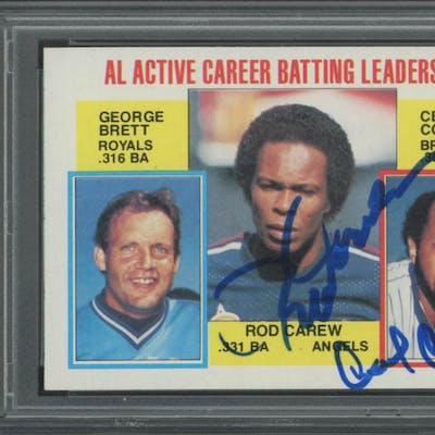 Rod Carew & Cecil Cooper Signed 1984 Topps #710 Carew / Brett / Cooper