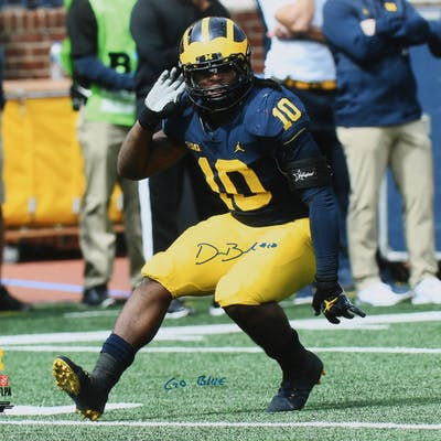 "Devin Bush Jr. Signed Michigan Wolverines 16x20 Photo Inscribed ""Go"