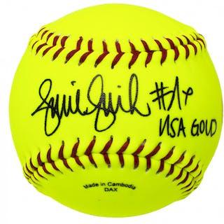 "Jennie Finch Signed Softball Inscribed ""USA Gold"" (JSA COA)"