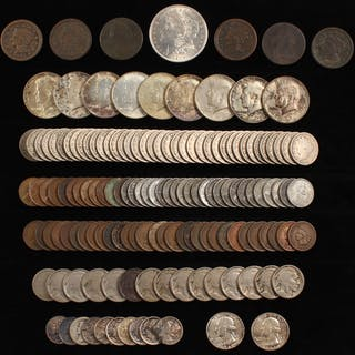 Lot of (146) U.S. Coins with 1802 Draped Bust Cent, 1921 Morgan Silver