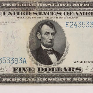 1914 $5 Five Dollars U.S. Blue Seal Federal Reserve Bank Note