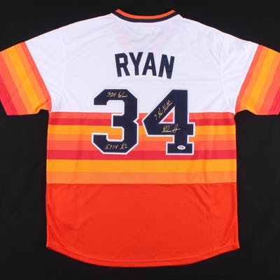 half off 34a4c 5d59a Nolan Ryan Signed Houston Astros Throwback Jersey Inscribed ...