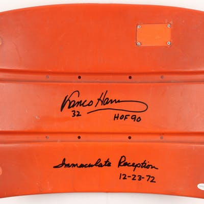 "Franco Harris Signed Stadium Seat Back Inscribed ""HOF 90"" & ""Immaculate"