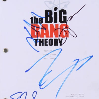 """""""The Big Bang Theory"""" Script Signed by (4) with Johnny Galecki, Jim"""